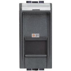 Установочная розетка компьютерная 1-ая кат.5е, RJ-45 (интернет) 1 мод, цвет Антрацит, LivingLight, Bticino