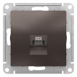 Розетка компьютерная 1-ая кат.5е, RJ-45 (интернет), Мокко, серия Atlas Design, Schneider Electric