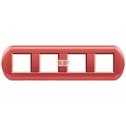 Рамка 4-ая (четверная) овальная, цвет Малина, LivingLight, Bticino