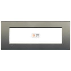 Рамка итальянский стандарт 7 мод прямоугольная, цвет Серый шелк, LivingLight, Bticino