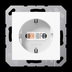 Розетка 1-ая электрическая , с заземлением и защитными шторками (безвинтовой зажим), цвет Белый, A500, Jung