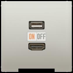 Розетка USB/HDMI (разъем), цвет Edelstahl (сталь), LS990, Jung