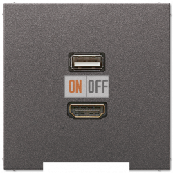 Розетка USB/HDMI (разъем), цвет Антрацит, LS990, Jung