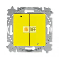 Выключатель для жалюзи (рольставней) кнопочный, цвет Желтый/Дымчатый черный, Levit, ABB