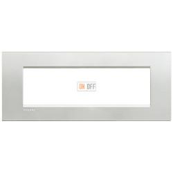 Рамка итальянский стандарт 7 мод прямоугольная, цвет Серебро, LivingLight, Bticino