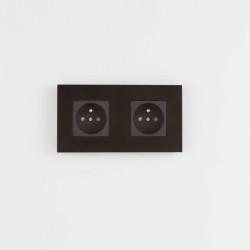 Розетка двойная Aluminium black